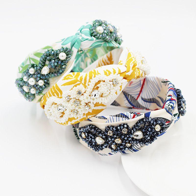 fashion fabric cross knotted inlaid rhinestone crystal rice beads headband NHWJ280973