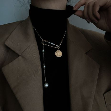 new fashion pearl pin coin necklace  NHYQ281030's discount tags