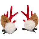 Christmas antler larch cone mink hair ball  side clip NHSA281055