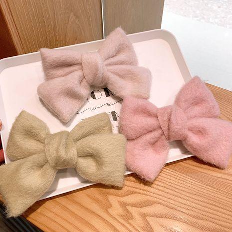 Plush big bow imitation mink hairpin  NHSA281058's discount tags