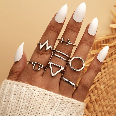 fashion circle triangle leaf lightning silver 7-piece retro ring NHGY281079's discount tags