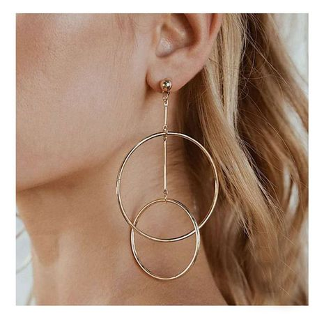 Alloy geometric ring interlocking gold earrings NHCT281080's discount tags