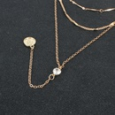 retro alloy flower coin pendant multilayer  necklace  NHCT281084