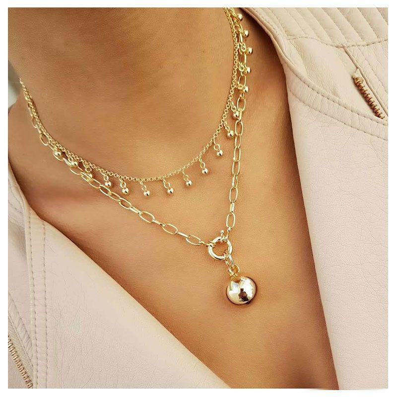 fashion  retro alloy ball pendant box chain double layer necklace  NHCT281098
