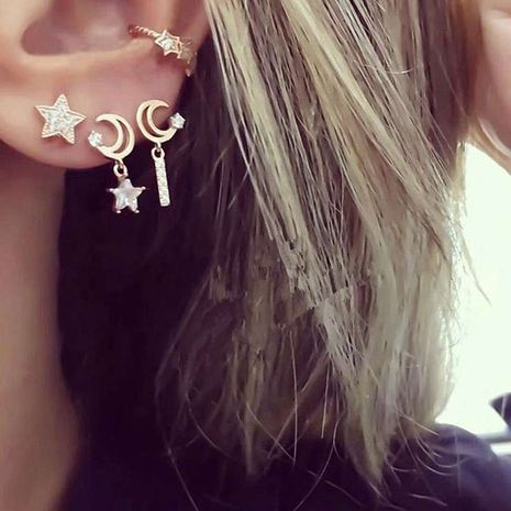 fashion simple diamond star moon earrings NHNZ281111's discount tags