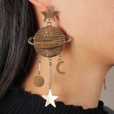 fashion asymmetric planet metal star moon earrings NHNZ281115's discount tags