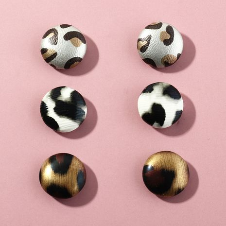 fashion geometric round simple leather leopard earrings NHNZ281117's discount tags