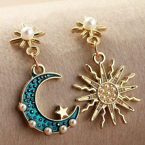 fashion alloy inlaid pearl asymmetric sun moon earrings NHNZ281129's discount tags