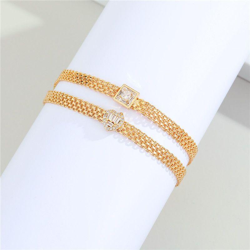 nueva pulsera de diamantes chapada en oro real NHGO281150