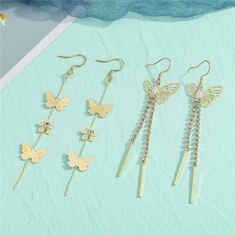 Fashion Diamond Butterfly Tassel Long Earrings NHGO281152's discount tags