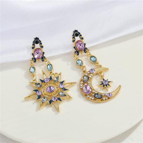 retro diamond Bohemian color zirconium star moon sun earrings  NHGO281154's discount tags