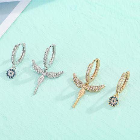 asymmetrische mit Diamanten besetzte Sonnenengelflügel aus Kupfer mit Mikroeinlage aus Zirkon NHGO281161's discount tags
