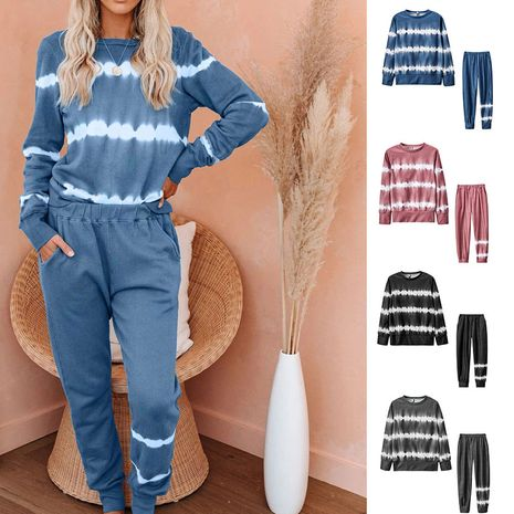 long-sleeved trousers striped tie-dye gradient color pajamas  NHJC281267's discount tags