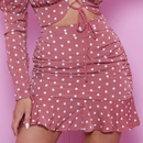 lace hollow wrapped chest pleated ruffle polka dot dress NHAG281232