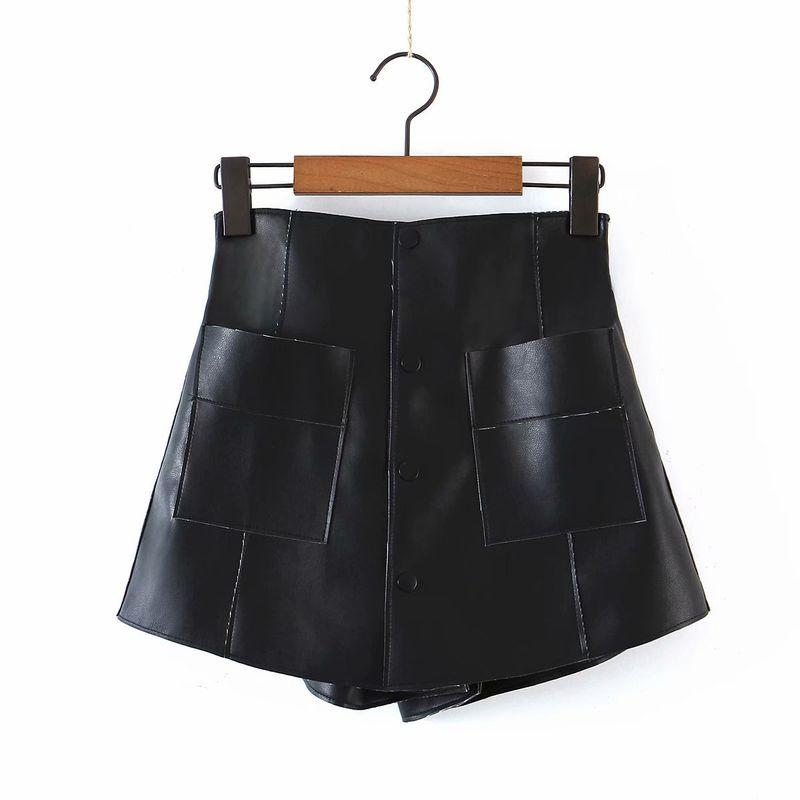 PU culottes shorts with lining NHAM281375