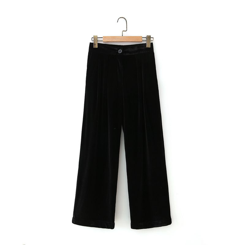 black velvet straight thick casual high waist wide leg pants  NHAM281380