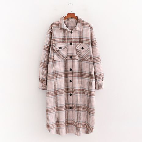 winter long woolen plaid shirt jacket coat  NHAM281423's discount tags