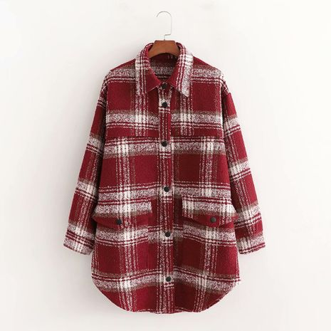 winter red grid children's shirt style casual woolen jacket  NHAM281424's discount tags