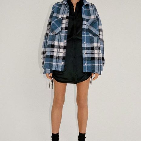 winter women's plaid shirt woolen jacket  NHAM281427's discount tags