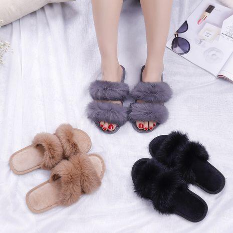 pantuflas de felpa de conejo real de algodón NHPE281553's discount tags