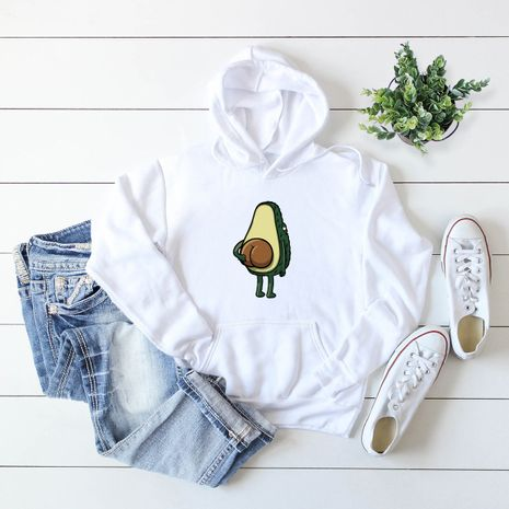 winter avocado print hooded sweater NHSN281601's discount tags