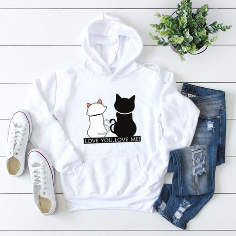 winter popular cat print hooded sweater NHSN281607's discount tags