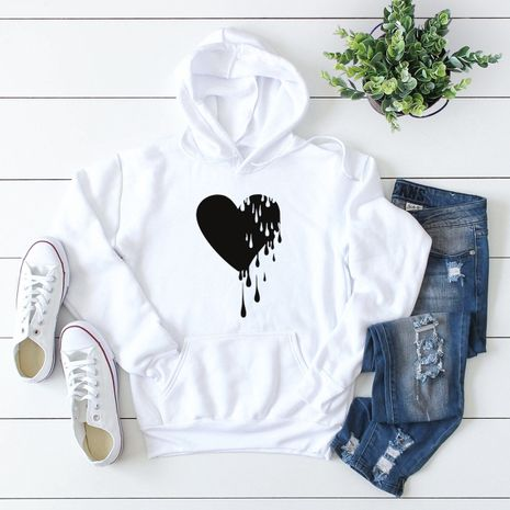 winter popular heart printed hooded sweater NHSN281609's discount tags