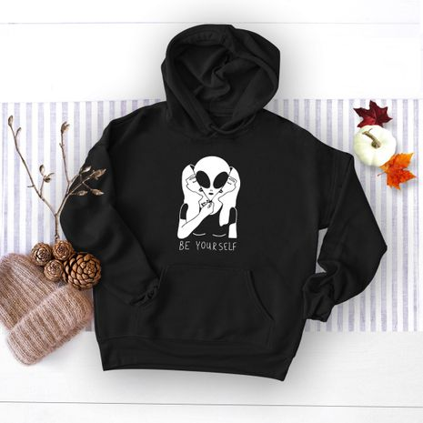autumn and winter funny alien hooded sweater NHSN281617's discount tags