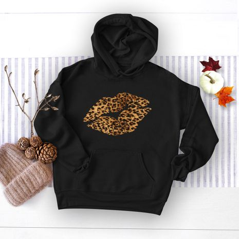 autumn and winter sexy leopard lips print hooded sweater NHSN281628's discount tags