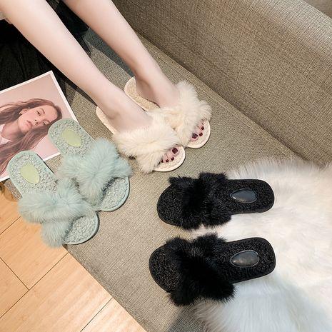 nuevas zapatillas de piel de cordero de moda cruzada de piel de conejo NHPE281648's discount tags