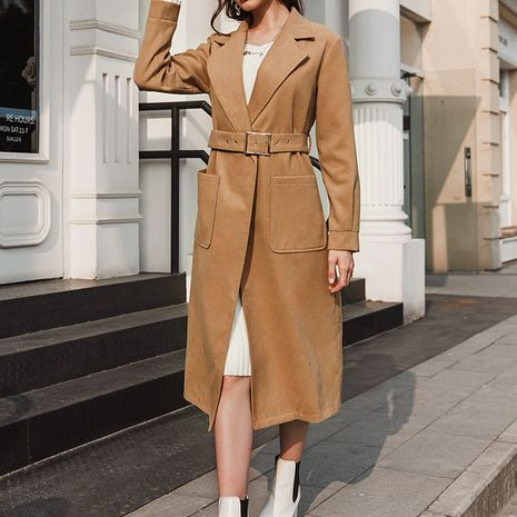 New fashion solid color long trench coat NHDE281691's discount tags