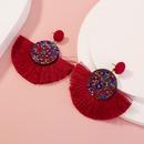 exaggerated red semicircular Bohemian rice beads tassel earrings NHAN281779