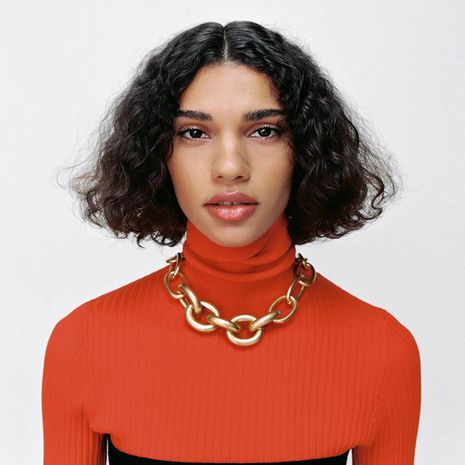 long geometric exaggerated punk chain necklace  NHLA281785's discount tags