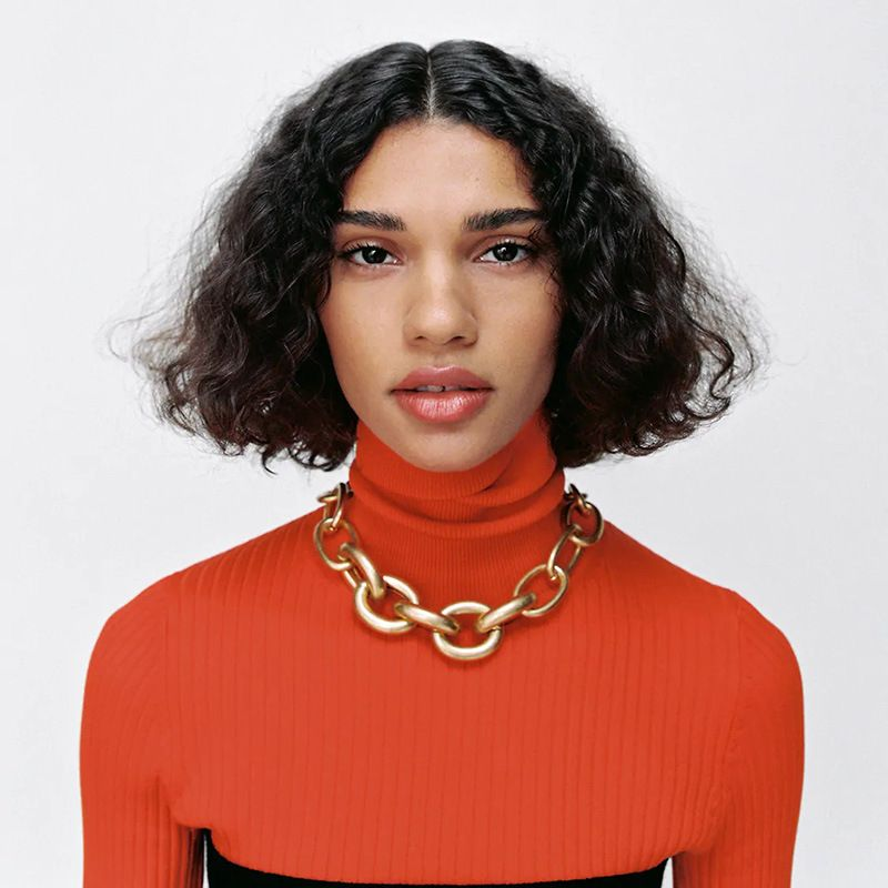 long geometric exaggerated punk chain necklace  NHLA281785