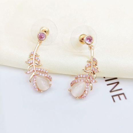 Fashion opal leaf diamond-studded zircon earrings  NHLJ281789's discount tags