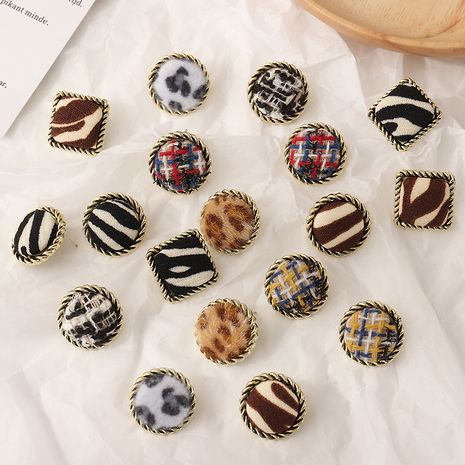 square round alloy leopard flannel flocking earrings  NHNZ281790's discount tags