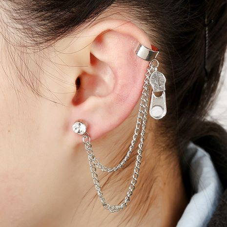 exaggerated zipper tassel diamond-studded hypoallergenic ear clip NHYE281796's discount tags