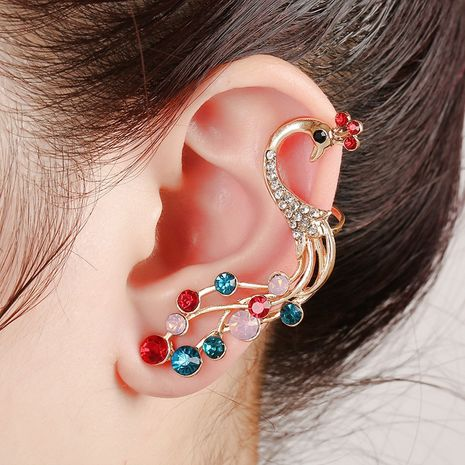 fashion diamond peacock color diamond ear clip  NHYE281809's discount tags