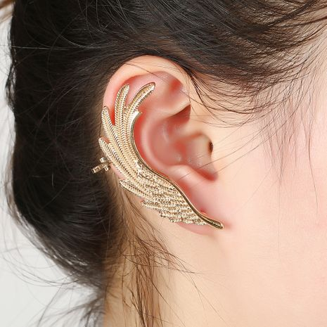 exaggerated fashion feather wings alloy earrings NHYE281817's discount tags