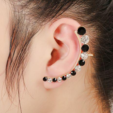 clip d'os d'oreille en arc de diamant noir et blanc incrusté de mode NHYE281819's discount tags