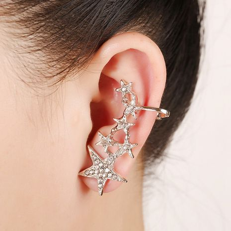 fashion hypoallergenic punk diamond five-pointed star ear bone clip NHYE281823's discount tags