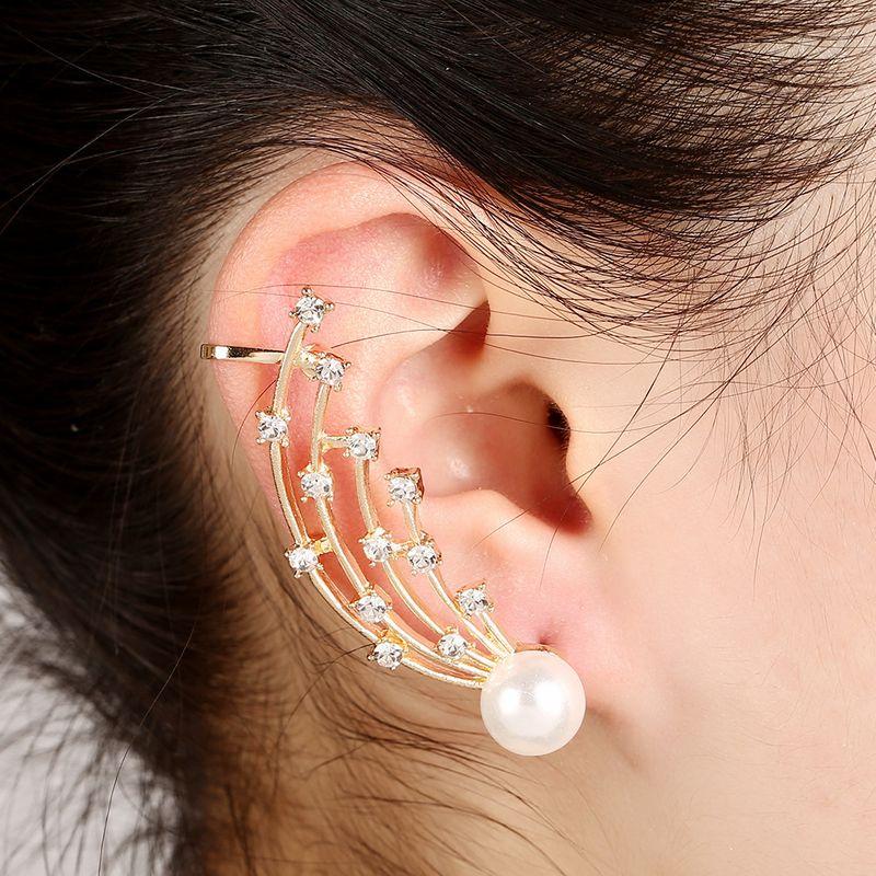 pearl diamond multirow ear bone clip  NHYE281825