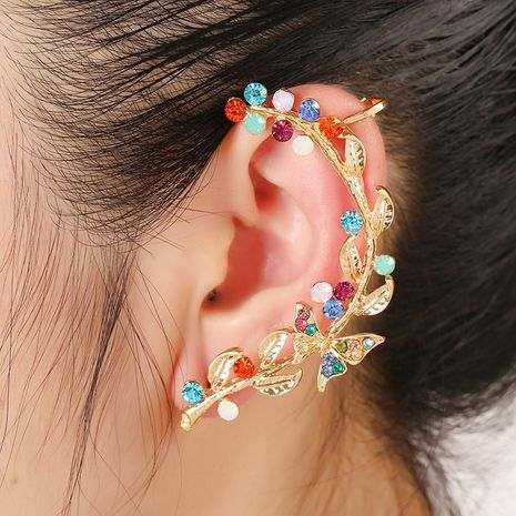 colorful diamond leaf alloy hypoallergenic earrings  NHYE281832's discount tags