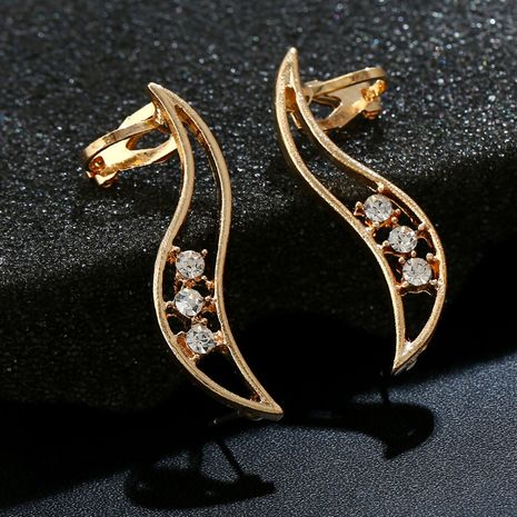 Simple irregular hollow diamond crystal zircon earrings  NHYE281849's discount tags