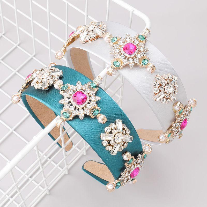 diamonds glass flowers wide-brimmed headband NHJE281870