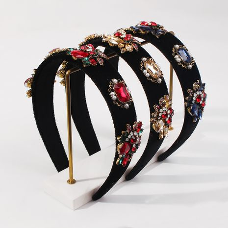 fashion baroque gold velvet retro headband NHMD281947's discount tags