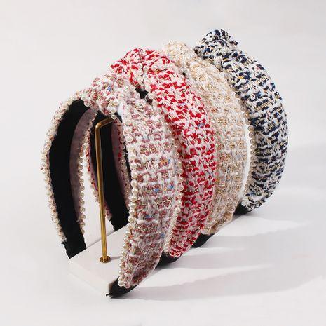 cross-knotted imitation pearl fashion headband NHMD281948's discount tags