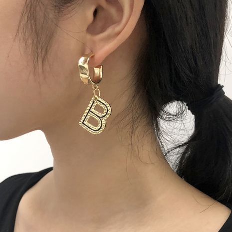 Modebuchstabe B übertriebene Ohrringe NHMD281958's discount tags