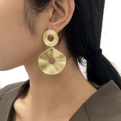 exaggerated retro irregular hollow circle earrings NHMD281961's discount tags