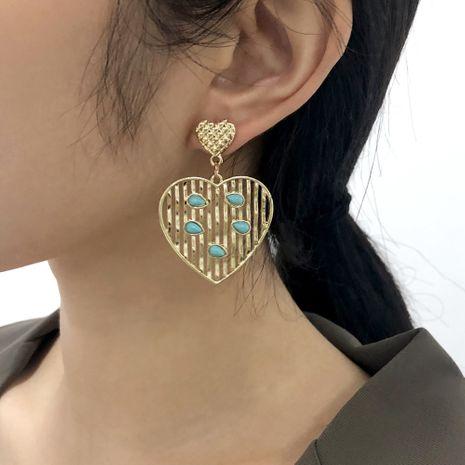 boucles d'oreilles en or rétro turquoise exagérées NHMD281966's discount tags